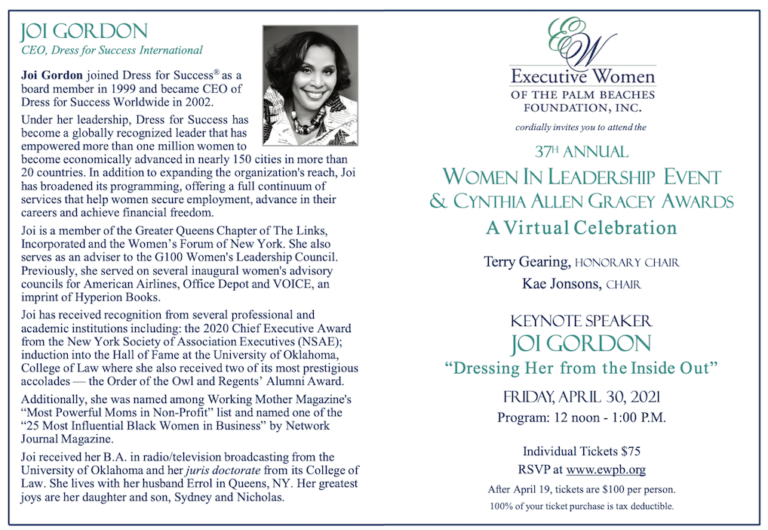 Dress for Success CEO Joi Gordon to Speak at Executive Women Luncheon